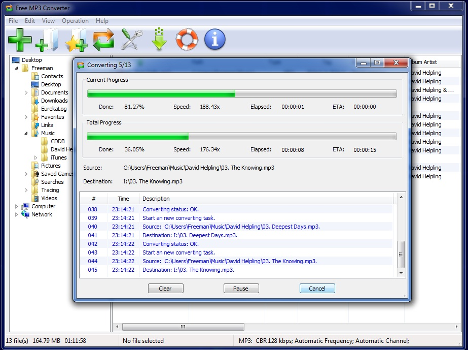 Click to view Free MP3 Converter 7.6.0 screenshot