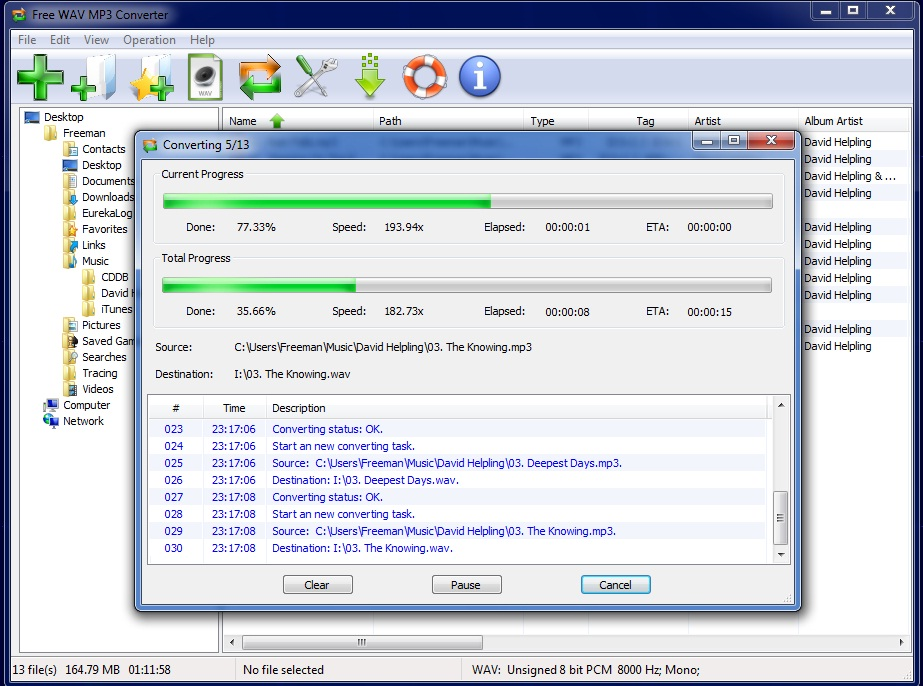 Click to view Free WAV to MP3 Converter 7.3.7 screenshot