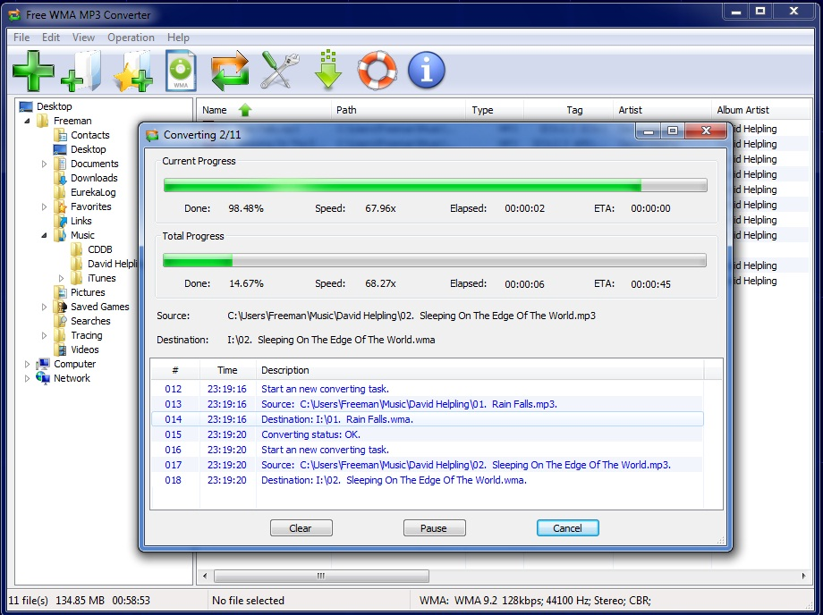 Free WMA to MP3 Converter Screen shot